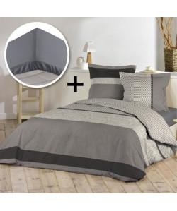DOUCEUR D\'INTERIEUR Pack PACOME 100% coton  Parure de couette 220x240cm  drap housse 140x190cm