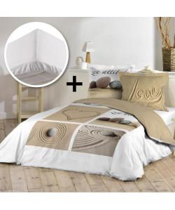 DOUCEUR D\'INTERIEUR Pack PLAGE 100% coton  Parure de couette 220x240cm  drap housse 140x190cm