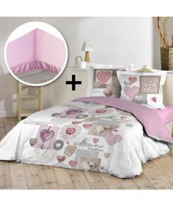 DOUCEUR D\'INTERIEUR Pack COMTESSE 100% coton  Parure de couette 220x240cm  drap housse 140x190cm