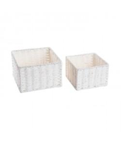 Lot de 2 Corbeilles Izo  Fibre  L 20 x l 20 x H 13 cm  Blanc
