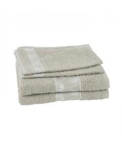 JULES CLARYSSE Lot de 2 serviettes  2 gants de toilette Daisy  Beige