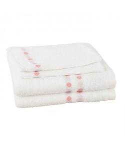 JULES CLARYSSE Lot de 2 serviettes  2 gants de toilette Lotus  Blanc