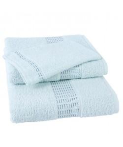 JULES CLARYSSE Lot de 1 serviette  1 drap de bain  1 gant de toilette Jasmine  Bleu