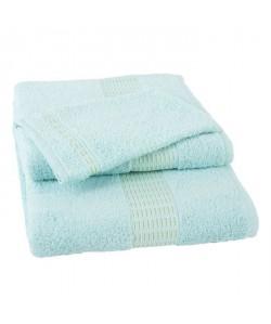 JULES CLARYSSE Lot de 1 serviette  1 drap de bain  1 gant de toilette Jasmine  Bleu Eau