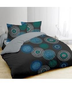 VISION Parure de couette INES 100% coton  1 housse de couette 220x240cm  2 taies 65x65cm  Gris, bleu et vert