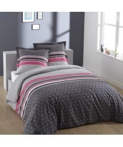 VISION Parure de couette LISA 100% Coton  1 housse de couette 220x240 cm  2 taies d\'oreiller 65x65 cm gris et rose