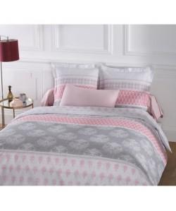 VISION Parure de couette ROMANE 100% coton  1 housse de couette 240x260 cm  2 taies d\'oreiller 65x65 cm blanc et rose