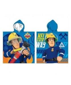 SAM LE POMPIER Poncho microfibre 55x110 cm bleu et jaune