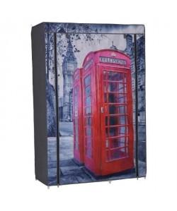 Armoire penderie souple Nomade 50 London en tissu 105x45x158 cm gris