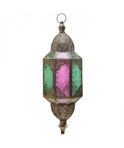Lanterne asuspendre  14 x 12.5 x 38 cm  Métal brossé et verre