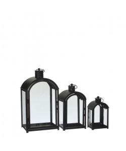 Lot de 3 Lanternes Evelina  Fer  Noir  L20,5 x l14,5 x H36,5 cm