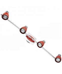Spot barre 4 lumieres Manhattan GU10 35W ampoule fournie largeur 81 cm rouge et chrome