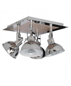 Plafonnier spot a 4 lumieres Country GU10 35W ampoules fournies largeur 26 cm chrome et imitation chene