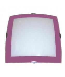 Plafonnier Mode en verre 30x30 cm E27 60W bord violet