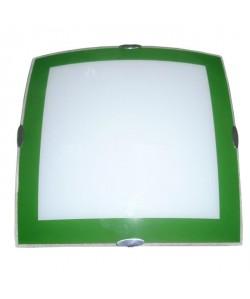 Plafonnier en verre 30x30 cm E27 60W vert