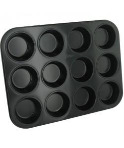 PATISSE Plaque a muffins antiadhésif en acier revetu  12 cavités  35x27 cm  Noir