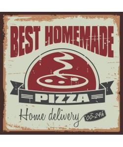 Panneau déco Pizza  30x30 cm  MDF  Vert et rouge
