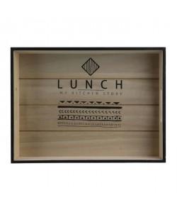 THE HOME DECO FACTORY Plateau Lunch  Bois  35x26x6 cm  Marron et noir