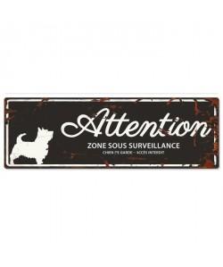 D&D Plaque Attention Chien Terrier  Noir