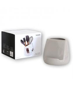 LADELLE Pot a ustensile de cuisine Oliver  Avec support tablette  Céramique  Gris  15,5 x 15,5 x 14,7 cm