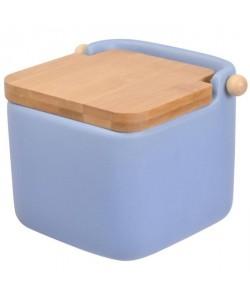 FRANDIS Pot a sel  Céramique  Couvercle bois bleu mat