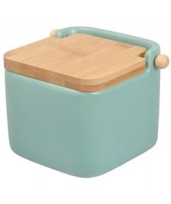FRANDIS Pot a sel  Céramique  Couvercle bois vert mat