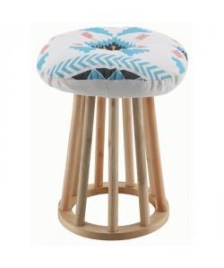 MEXICO Pouf rond en bois pin revetu de tissu motif équateur  pieds en bois bouleau  Ethnique  L 30 x P 30 cm