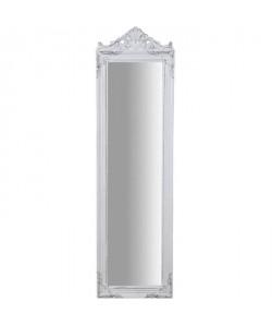 Miroir psyché moderne en bois  140 x 40 x 3 cm  Finition blanc antique