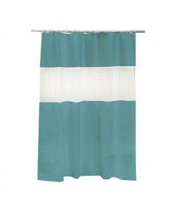 FRANDIS Rideau de douche Peva transparent bleu pétrole et blanc