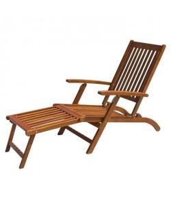 FINLANDEK  Chaise longue en eucalyptus avec matelas GRIS  MERI