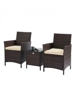 BEAU RIVAGE Ensemble table basse et 2 fauteuils Myconos en résine tressée  Marron