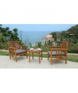 Salon de jardin 2 places  1 table et 2 fauteuils  En bois d\'acacia  45x45x45cm