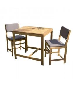 Ensemble de mobilier de jardin ou de balcon 2 places  1 table et 2 chaises avec coussins d\'assise  En bois acacia