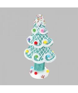Sapin de Noël artificiel pailleté Bleu 22x12 cm