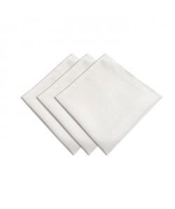SUCRE D\'OCRE Lot de 3 serviettes de table BELLA 45x45 cm  Blanc