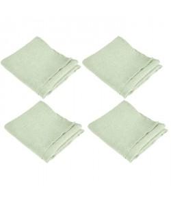 VENT DU SUD 4 Serviettes de table SYMPHONIE en lin  50 x 50 cm  Vert tilleul