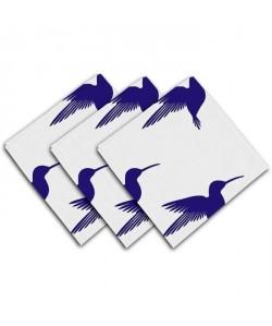SOLEIL D\'OCRE Lot de 3 serviettes de table Colibri  40x40 cm  Bleu