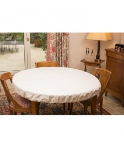 CORYL Housse protege table  Ř 155 cm  Blanc