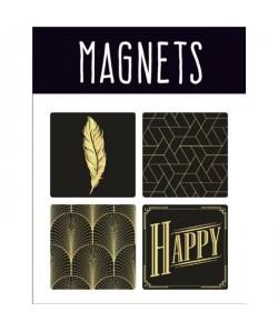 EMOTION Lot de 4 magnets style Precious Black  Noir et or