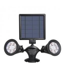 LUMISKY Projecteur double spot solaire extérieur étanche avec détecteur 12 LEDs  600 Lm