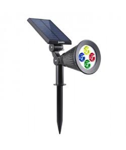 LUMISKY Spot solaire extérieur étanche  4 LEDs colorées  200 Lm  Tete pivotante a 90C