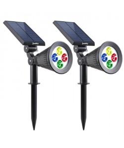 LUMISKY Pack de 2 Spots solaires extérieur étanches  4 LEDs colorées  200 Lm  Tete pivotante a 90C