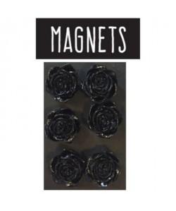 EMOTION Lot de 6 magnets en forme de rose  Noir