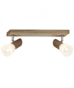 BRILLIANT Plafonnier barre a 2 lumieres Forest hauteur 16 cm E14 28W chene et blanc