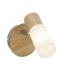 Applique spot a 1 lumiere Babsan E14 40W bois clair et blanc