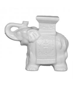 HOMEA Eléphant émaillé déco 35x15x31 cm blanc
