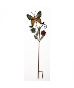 Piquet Papillon Et Fleurs  Métal  L 29,85 x P 2,54 x H 101 cm