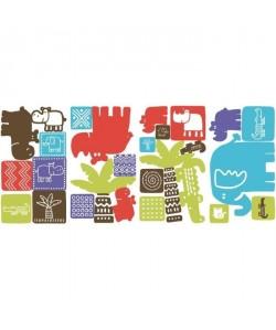 ROOMMATES Lot de 27 stickers PETITS ANIMAUX DANS LE SAFARI repositionnables 4 feuilles de 10,1cm x 44,1cm