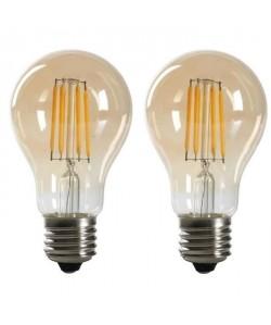 EXPERTLINE Lot de 2 Ampoules LED filament ambrées E27 standard 4 W équivalent a 38 W blanc chaud