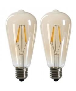 EXPERTLINE Lot de 2 Ampoules LED filament ambrées E27 4 W équivalent a 38 W blanc chaud